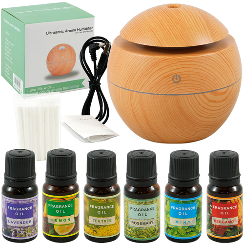 Diffuser Basics Ultrasonic Smart Aroma Humidifier Small Light Wood + 6 Pack 10ml Fragrance Kit