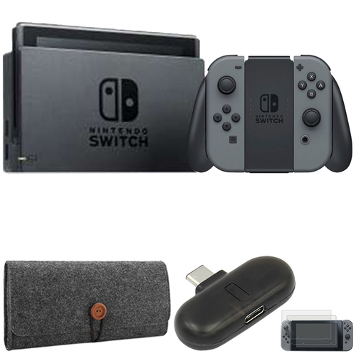 Nintendo Switch 32 GB Console w/ Gray Joy Con + Bluetooth Audio Transmitter Bundle