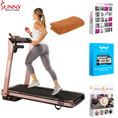 Sunny Health and Fitness ASUNA SpaceFlex Running Treadmill+Fitness Suite & Towel