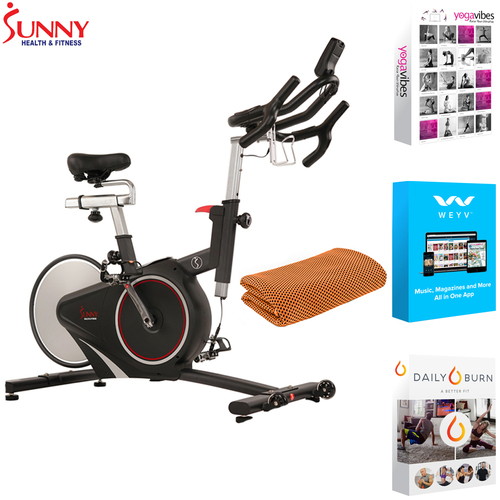 Sunny Health and Fitness Belt Drive Magnetic Indoor Bike + Fitness Suite & Towel