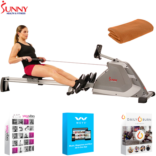 Sunny Health and Fitness Programmable Rowing Machine + Fitness Suite & Towel