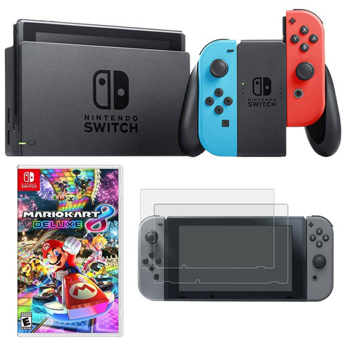 Nintendo Switch 32 GB Console with Neon Blue/Red Joy-Con + Mario Kart 8 Protector Bundle