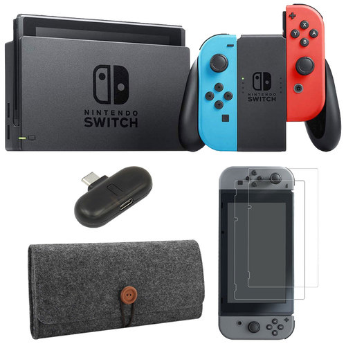Nintendo Switch 32 GB Console with Neon Blue and Red Joy-Con w/ Bluetooth Adapter Bundle