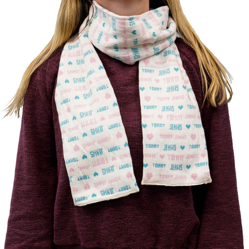 Tommy Jeans Fashionable Scarf - Blue & Pink Heart Design