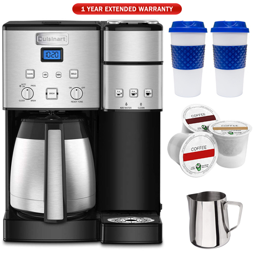 Cuisinart 10-Cup Thermal Single-Serve Brewer Coffeemaker Silver+Warranty Bundle
