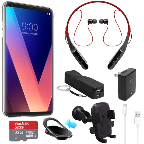 LG V30 US998 64GB Smartphone (Silver) with Wireless Bluetooth Headset and More