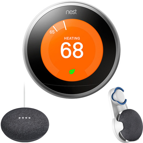 Nest Learning Thermostat Gen3 Stainless Steel, Charcoal Google Home Mini & Wall Mount