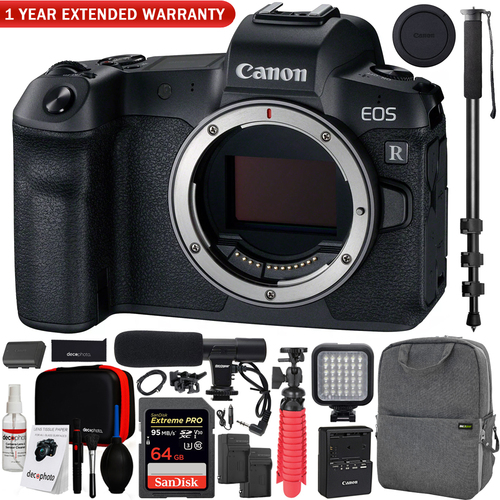 Canon EOS R Full-Frame Mirrorless Camera Body Backpack Cleaning Kit Mic Bundle