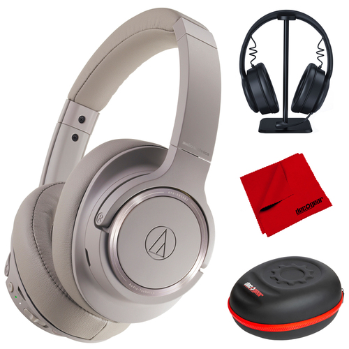 Audio Technica Wireless Bluetooth Over-Ear Headphones (Brown-Gray) w/ Accessories Bundle