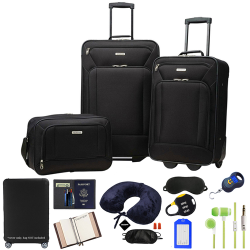 American Tourister Fieldbrook XLT 3 Piece Set, Black (92286-1041) w/ 10pc Accessory Kit