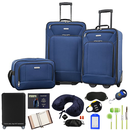 American Tourister Fieldbrook XLT 3 Piece Set, Navy - (92286-1596) w/ 10pc Accessory Kit