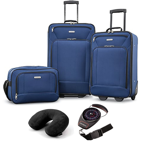 American Tourister Fieldbrook XLT 3 Piece Set Navy + Traveling Bundle