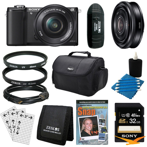 Sony a5000 Compact Interchangeable Lens Camera Black 16-50mm & 20mm F2.8 Lens Bundle