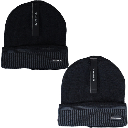 2-Pack Tahari Cuffed Knit Winter Beanie Insulated With Faux Fur Lining (Black + Navy)