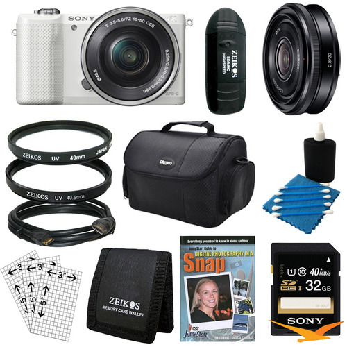 Sony a5000 Compact Interchangeable Lens Camera White 16-50mm & 20mm F2.8 Lens Bundle