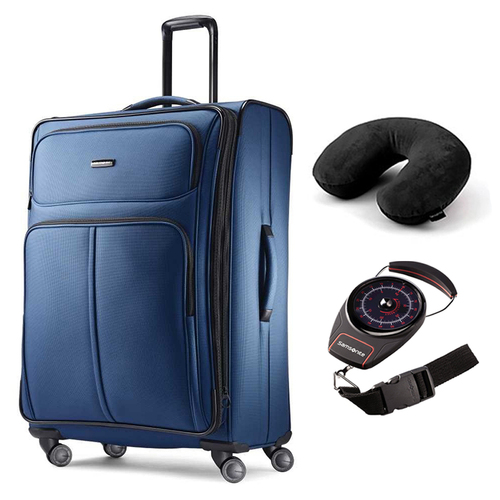 Samsonite Leverage LTE Spinner Luggage 29 Suitcase Poseidon Blue + Scale and Pillow