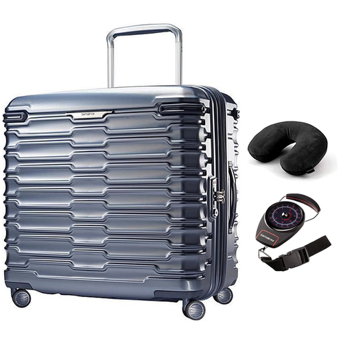 Samsonite Stryde Hardside Glider Long Journey Blue Slate + Scale and Pillow