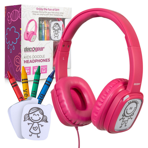 Kids' Over-Ear Pink Customizable Doodle Headphones with Safe Ears Volume Limiter