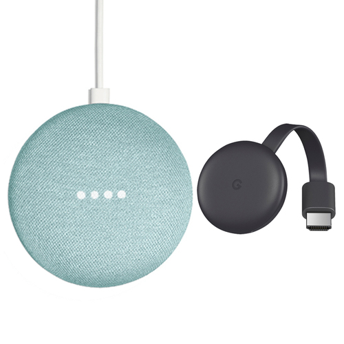 Google Home Mini Smart Speaker with Google Assistant Aqua + Chromecast Charcoal