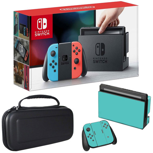Nintendo Switch 32 GB Console with Neon Blue and Red Joy-Con w/Sky Skin and Case