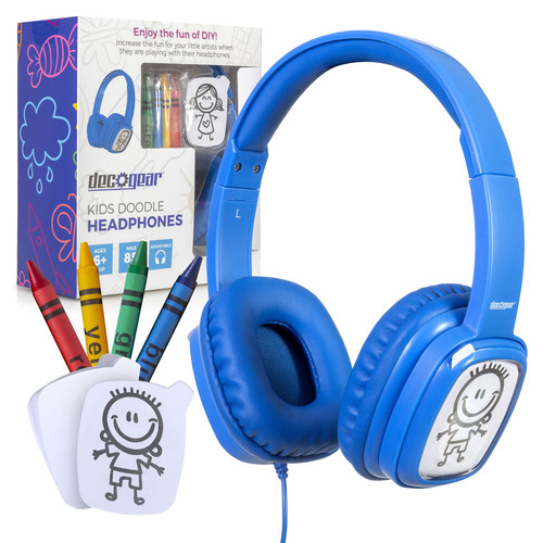 Deco Gear Kids' Over-Ear Blue Customizable Doodle Headphones with Safe Ears Volume Limiter