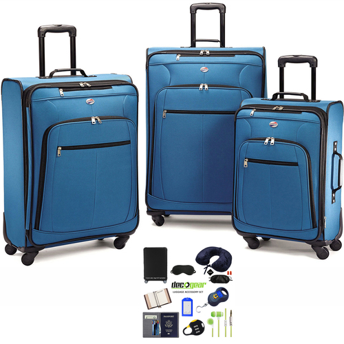 American Tourister Pop Plus Lightweight Spinner Luggage Set Blue + Accessory Kit