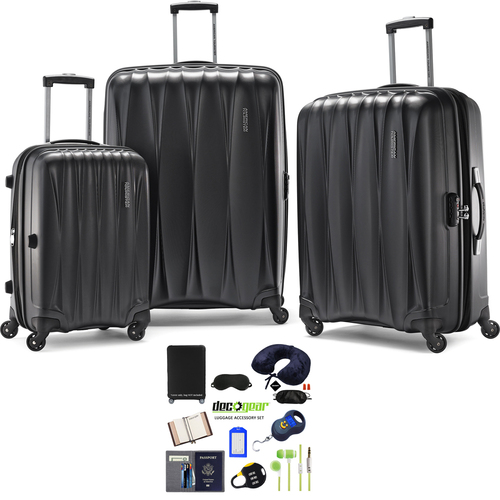 American Tourister Arona Premium Spinner 3Pcs Luggage Set Charcoal+Accessory Kit