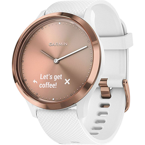 Garmin Vivomove HR Sport Hybrid Smartwatch, Rose Gold with White Band (Small/Medium)