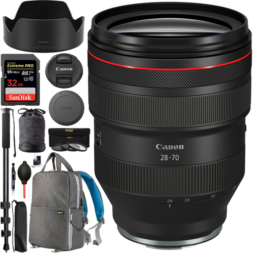 Canon RF 28-70mm f/2 L USM Lens for EOS R 2965C002 95mm Filter Kit Backpack Bundle