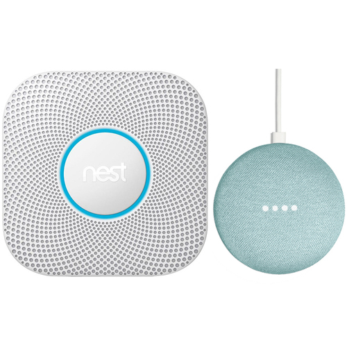 Google Nest Protect Wired Smoke & Carbon Monoxide Alarm White 2nd Gen. + Speaker Aqua