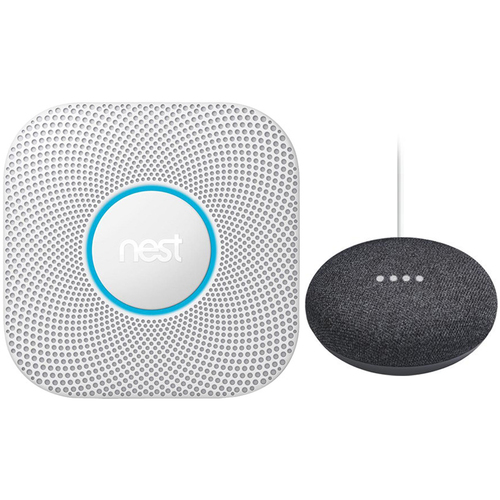 Google Nest Protect Wired Smoke & Carbon Monoxide Alarm White 2nd Gen.+Speaker Charcoal