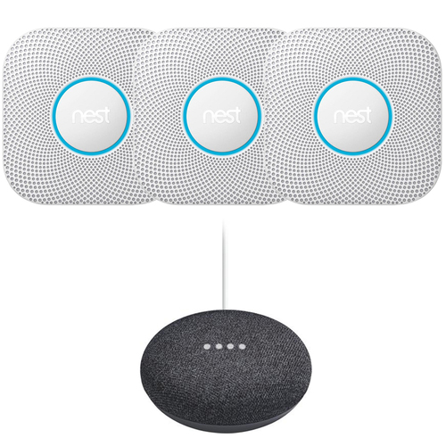 Google Nest Protect Smoke and CO Alarm Battery 3-Pack White + Mini Speaker Charcoal