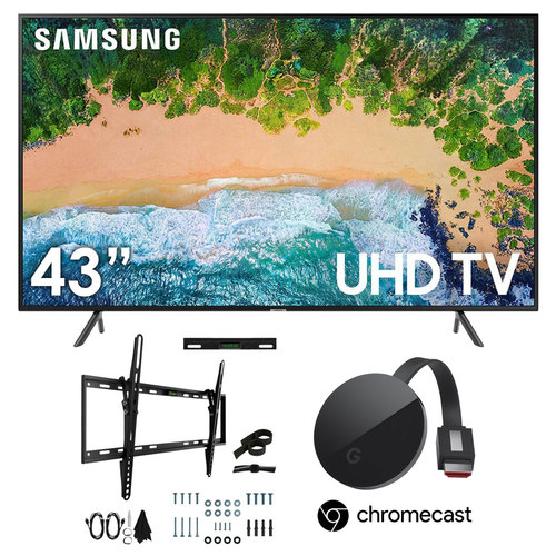 Samsung UN43NU7100 43` NU7100 7-Series Flat Smart 4K UHD TV + Chromecast Ultra Bundle