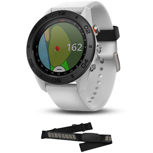 Garmin Approach S60 Golf Watch White with White Band + Heart Rate Monitor