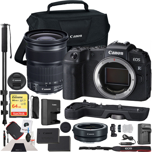 Canon EOS RP Mirrorless Camera + EF Adapter + 24-105mm Lens + EG-E1 Grip Essential Kit