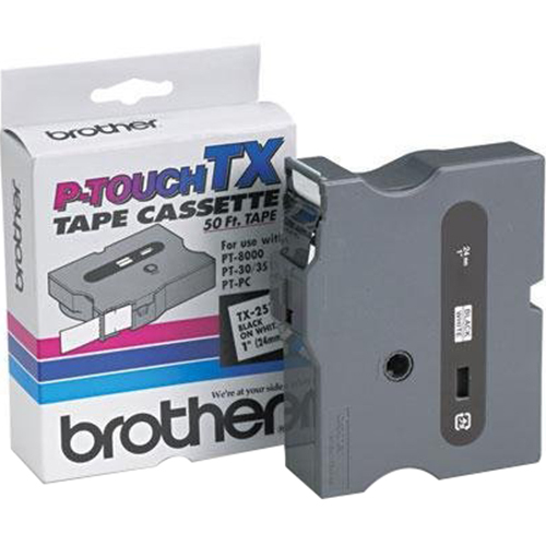 BROTHER INTL (LABELS) P-Touch Tape Cartridge for PT-8000 - PT-PC - PT-30/35 in Black on White - TX2511