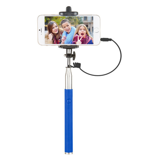 Vivitar 42` Selfie Stick with Built-In Shutter Release and Folding Clamp, Blue