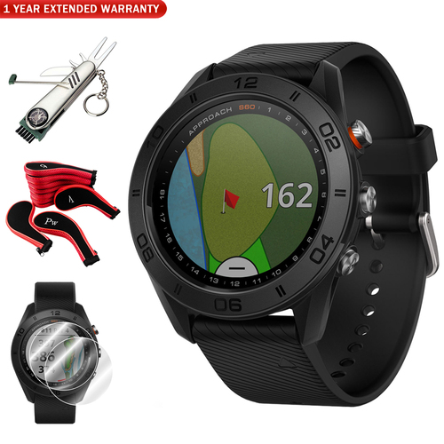 Garmin Approach S60 Golf Watch Black with Black Band w/ Golf Accessories Bundle