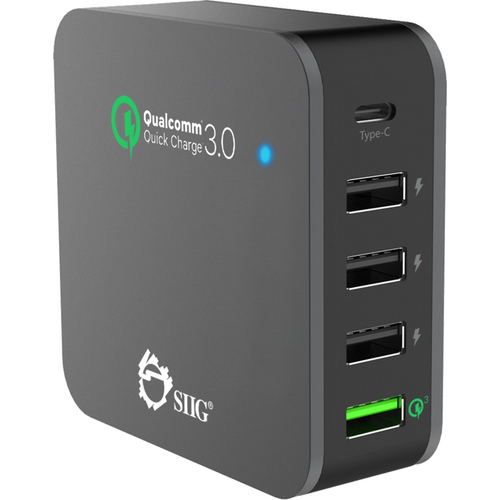 5-Port Smart USB Charger plus Organizer Bundle in Black - AC-PW1714-S1