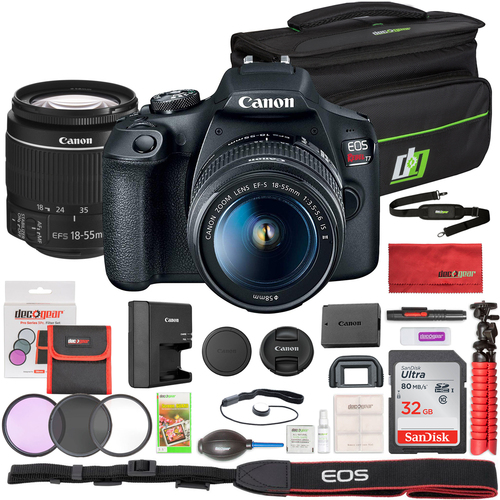 Canon T7 EOS Rebel DSLR Camera + 18-55mm IS II + 75-300mm Double Zoom 32GB Utility Kit