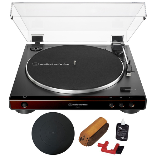 Audio-Technica Automatic Belt-Drive Turntable Brown Black + Essentials Bundle
