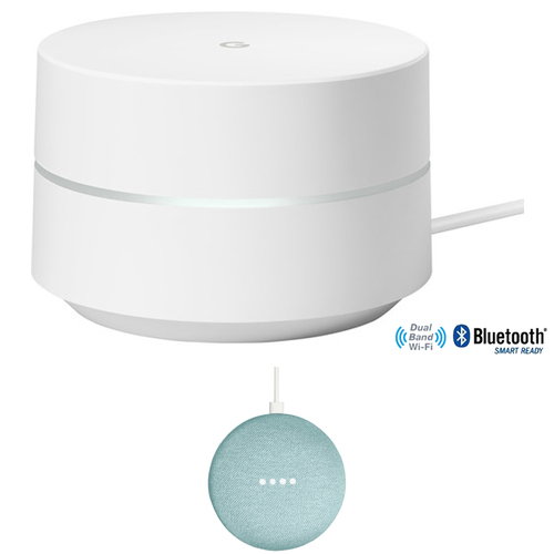 Google Wi-Fi System Mesh Router 1-Pack (GA00157-US) with Google Home Mini