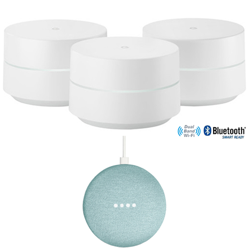 Google Wi-Fi System Mesh Router 3-Pack (GA00158-US) with Google Home Mini