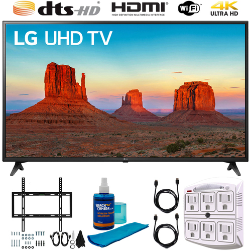 LG 60UK6090PUA 60` 4K HDR Smart LED UHD TV (2018) w/ HDR with Wall Mount Bundle
