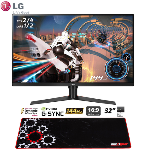 LG 32GK650G-B 32` QHD Gaming Monitor with G Sync + Deco Gear Gaming Mouse Pad