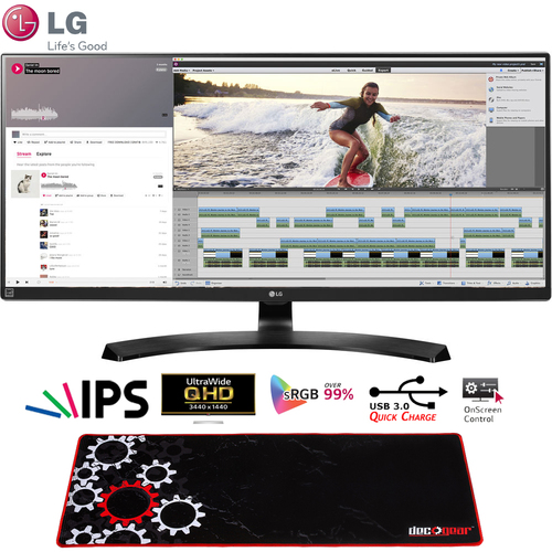 LG 34` UltraWide FreeSync IPS Monitor 21:9 34UM88C + Deco Gear Gaming Mouse Pad