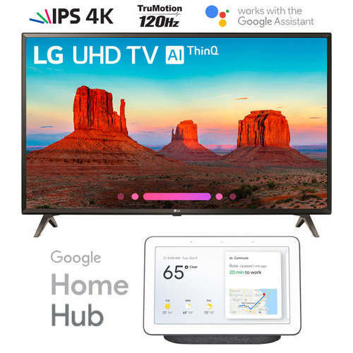 LG 49UK6300 49` UK6300 4K HDR LED AI UHD TV w/ThinQ with Google Home Hub (Charcoal)