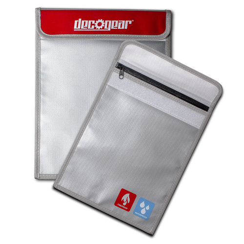 Deco Gear Dual-Layer Silicone Fireproof Water Resistant Safe Storage Bag - Small 9` x 7`