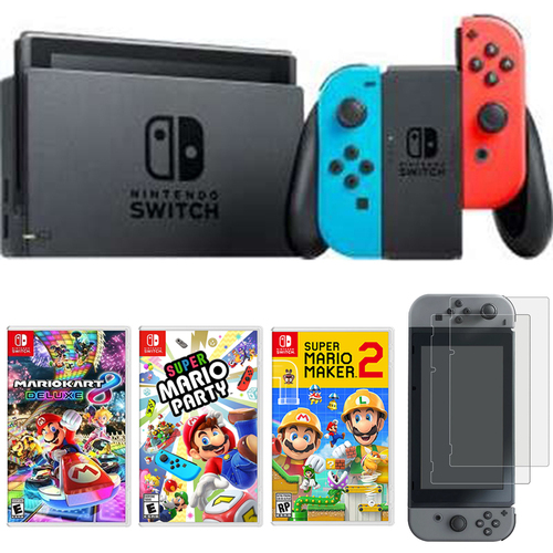 Nintendo Switch 32 GB Console with Neon Blue and Red Joy-Con + 3 Games Bundle