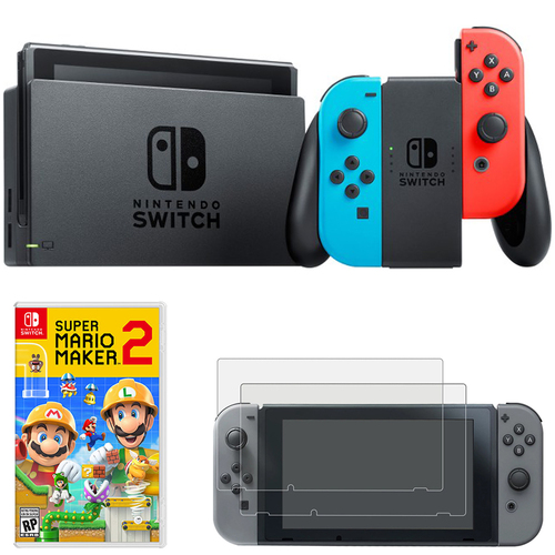 Nintendo Switch 32 GB Console w/ Neon Blue and Red Joy-Con + Super Mario Maker 2 Bundle